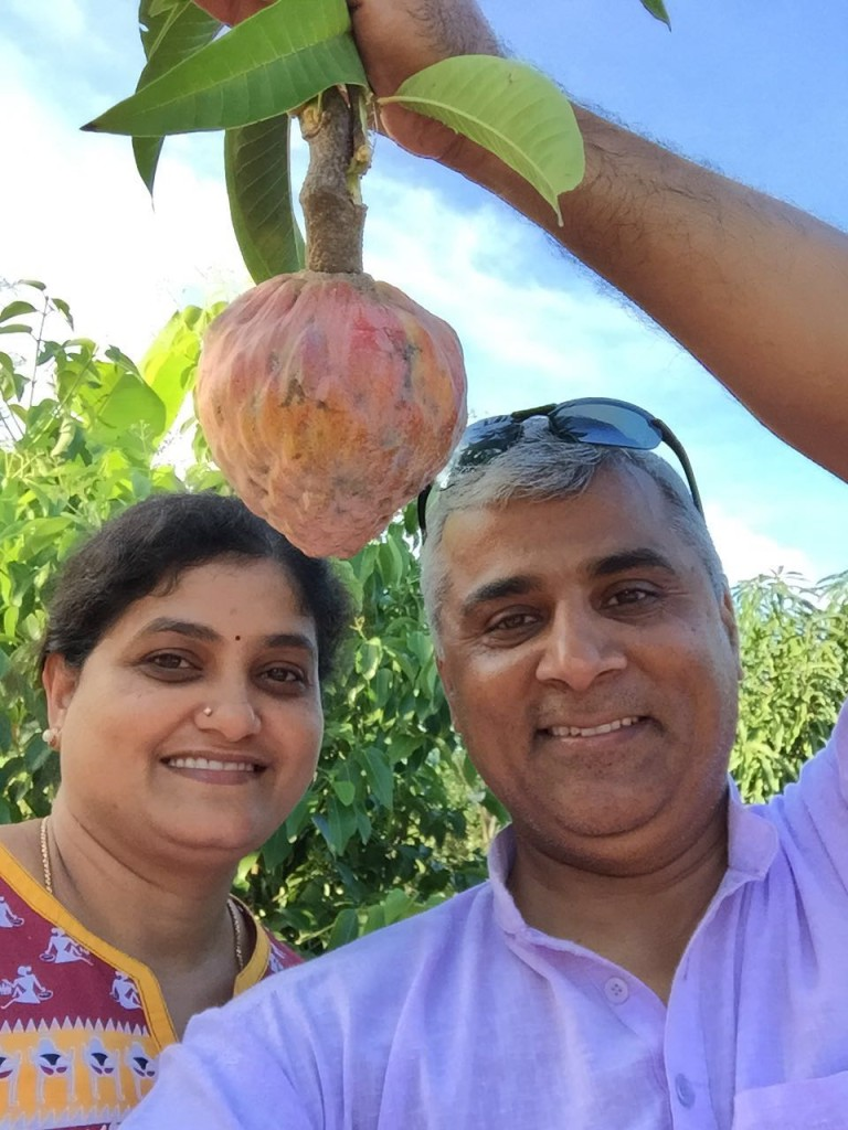 Raj and Wife Vijaya at a farm